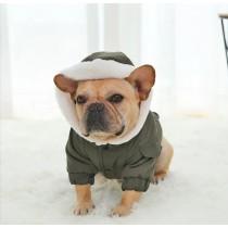Куртка КРАСНАЯ на кнопках Бульдог компакт Мопс с капюшоном